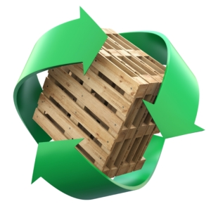 wood pallet inside a recycling symbol