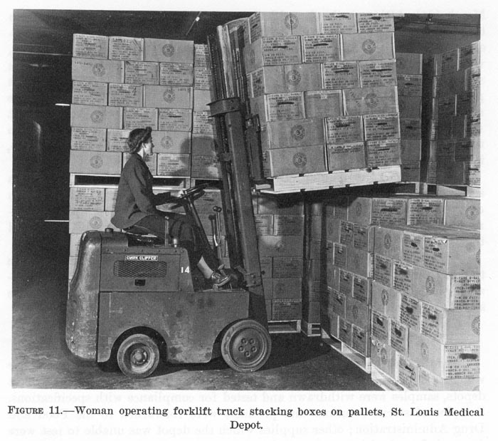 WW2 photo of woman driving a forklift carrying a wood pallet with unit load.
