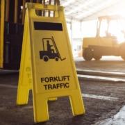 Forklift Traffic sign on loading dock