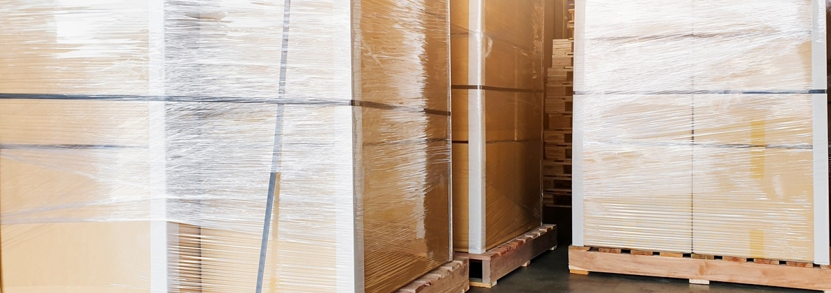 wood pallets with shrink wrapped loads