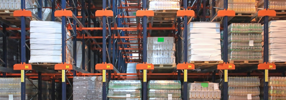 warehouse racks with pallets of goods