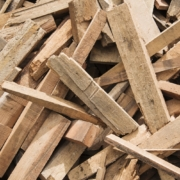 pile of pallet wood scraps ready for recycling