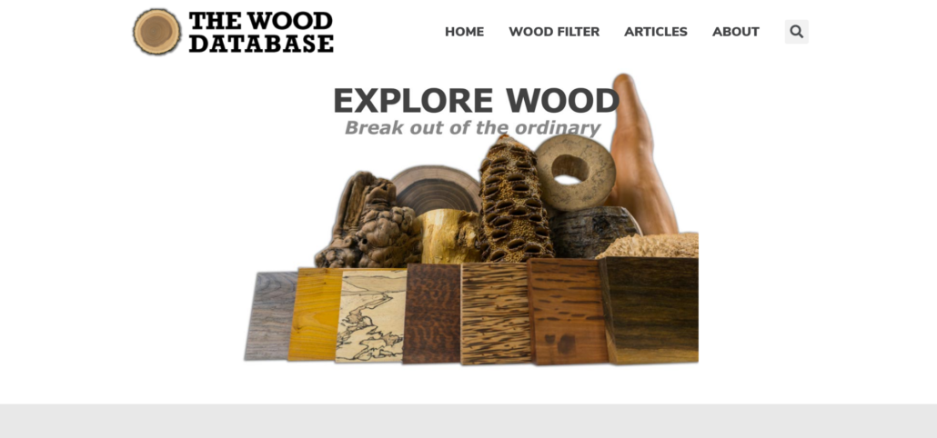 Front page of the Wood Database website